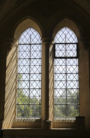 abbey: Gothic windows at medieval abbey
