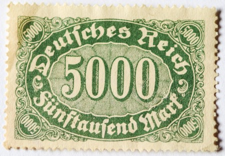 Old postage stamp of 5000 german marks from 1920s  photo