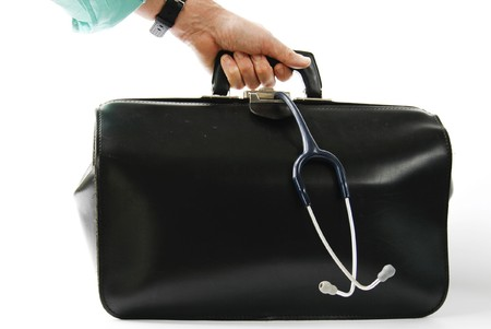 turqoise: Male hand with turquoise sleeve black leather doctors bag with stethoscope hanging out
