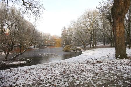 Urban park with frozen pond  photo