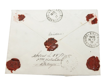 Old letter of 1937 to France from the Netherlands closed with wax seal photo