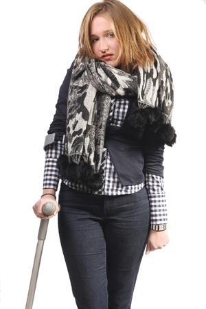 sprain: Young woman on crutches Stock Photo