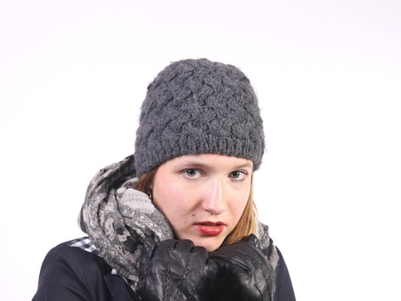 Attractive young woman with grey hat photo