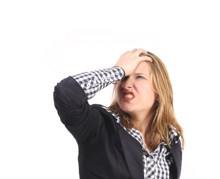 stupidity: Young attractive  woman gesturing stupidity Stock Photo