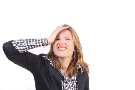stupidity: Young woman gesturing stupidity