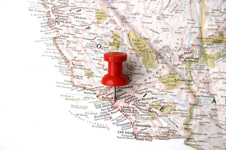 map pin: red pin on Los Angeles on map of californai
