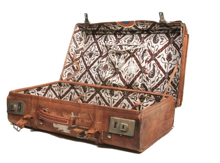 Open leather suitcase photo