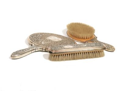 gripping hair: Beautiful antique vanity set Stock Photo