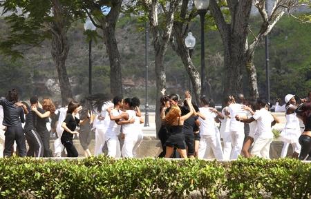 HAVANNA, CUBA-FEBRUARY 21, 2011: Young people dancing in a park in Havanna in Cuba, circa february 2011.