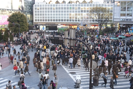JAPAN, TOKYO -CIRCA APRIL 2009: Crowd on the famous zebra crossings in Akihabara, circa april 2009