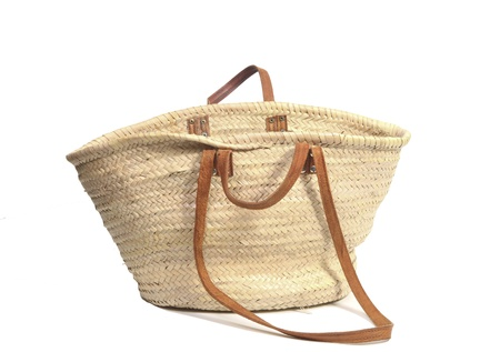 hand baskets: Empty open wicker bag on white