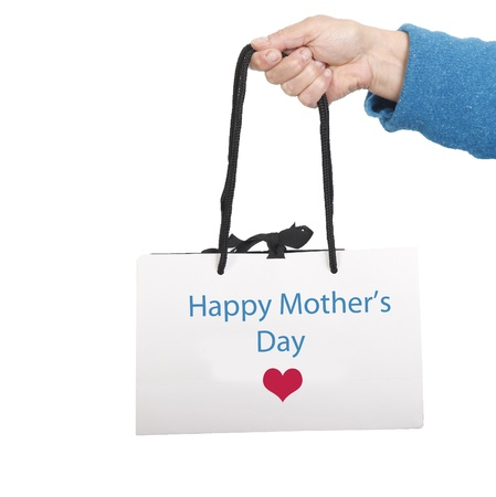 Happy Mothers day on white bag with black cord
