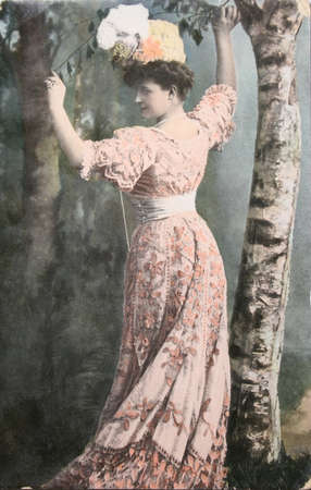 victorian valentine: Vintage postcard with handpainted photograph of beautiful lady in fashion dress of 1910