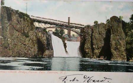 baratro: Vintage postcard with Chasm bridge at passaic falls in Paterson New Jersey USA in 1906
