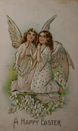 Handpainted vintage postcard for easter 1909,  Stock Photo - 9158213