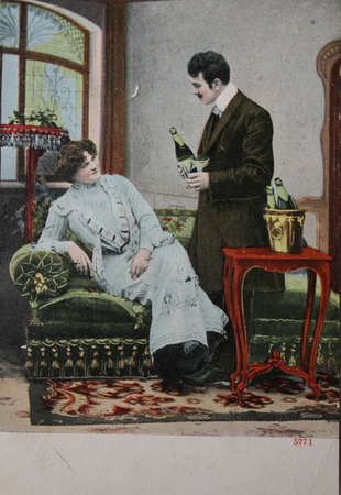 champaign: Vintage postcard of 1904 with man and woman in romantic mood with bottles of champaign