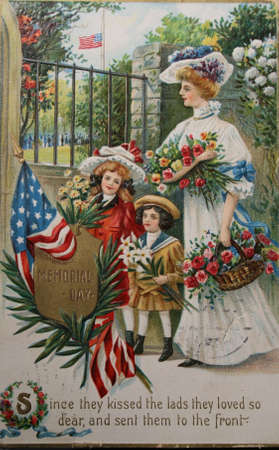 cartoline vittoriane: Handpainted vintage postcard for memorial day 1909 with text: