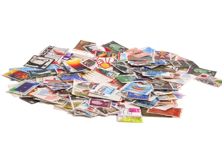 priceless: Bunch of used Dutch stamps Stock Photo