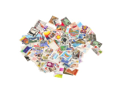 priceless: Bunch of Dutch stamps on white background Stock Photo