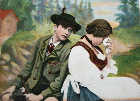 secretive: GERMANY-CIRCA 1905: Postcard of  a couple with a sad weeping girl. Handpainted in Germany, circa 1905  Editorial