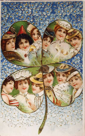 GERMANY-CIRCA 1905:Vintage illustrated postcard with a four leaf clover with girls in it , circa 1905