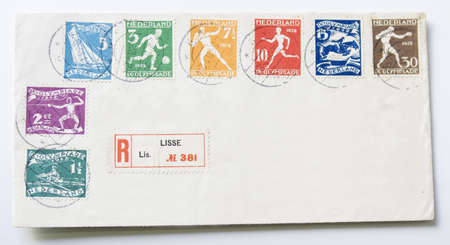 philatelic: Envelope with address in Germany with all the unique stamps specially made for the Olympic Games in 1928 in Amsterdam. Postmarked in 1928.