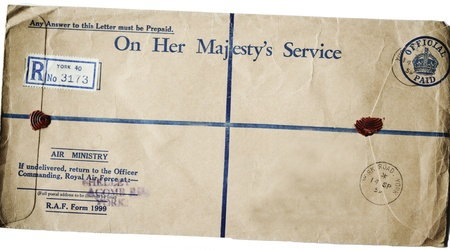raf: On his majestys service letter postmarked 1959 (XXL).  Editorial