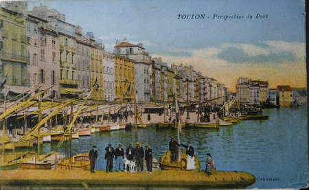 toulon: FRANCE-CIRCA 1907. Vintage postcard with view on port of Toulon in France, circa 1907 Editorial