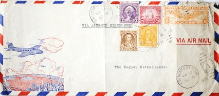 airship: Antique airmail envelope with american postage stamps sent with the Airship Hindenburg (which exploded in 1937)