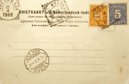 Vintage postcard of 1902 sent in the Dutch Indies (former colonial Indonesia)