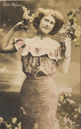 victorian valentine: GREAT  BRITAIN- circa 1909: Vintage postcard of Violet Wegner who was the daughter of William  Wegner. and married Prince Petar Petrovic-Njegoš, Grand Voivode of Zahumlije, son of the king of Montenegro and Milena  Vukotic. She died in 1960, circa 1909