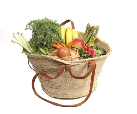 Eco friendly shopping bag with organic fruit and vegetables photo