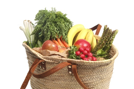Eco friendly bag with organic groceries photo