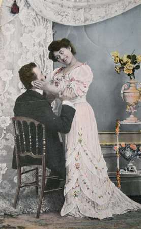 Victorian romance - loving couple - circa 1908 hand-tinted photograph ,