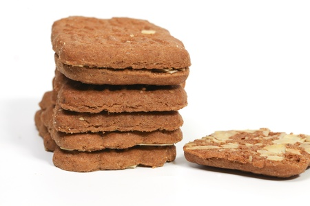 speculaas: Stack of almond speculaas cookies. Speculaas is a Dutch traditional cookie speciality