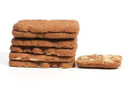 Stack of almond speculaas. Speculaas is a Dutch traditional cookie speciality photo