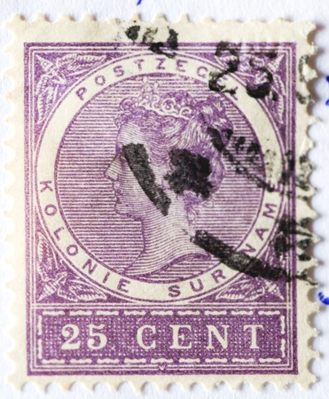 25 cents: Vintage postage stamp of 25 cents Editorial