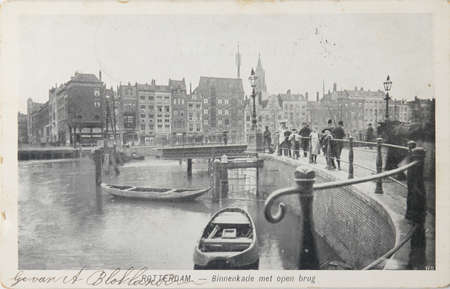 bombed: THE NETHERLANDS, ROTTERDAM-CIRCA 1904: Black and white postcard with image of the disappeared centre of old Rotterdam with transport boats and barrels. Part of the town which was bombed by Germans in WWII., circa 1902
