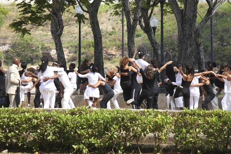 HAVANNA, CUBA-FEBRUARY 21, 2011: Young people dancing in a park in Havanna in Cuba on a movie take