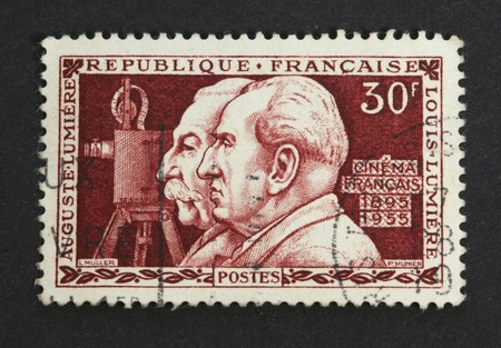 inventor: FRANCE-CIRCA 1955; Stamp published by France with image of the brothers Auguste and Louis Lumiere  Stock Photo