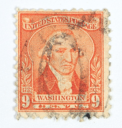 mediaval: UNITED STATES - CIRCA 1932:  9 cents bicentennial postage stamp published in USA showing President Washington in orange 1, circa 1932 Editorial