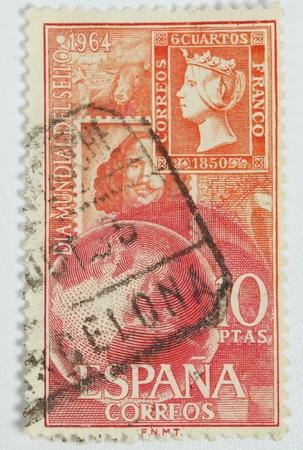 queen isabella: SPAIN-CIRCA 1964: Stamp published in Spain because of International Stamp Day with image of  Queen Isabella, circa 1964