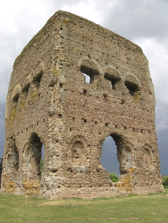 janus: Part of the ruins of the old Roman Temple of Janus in Autun, France.The Romans called this town Augustodunum as it was built during the reign of Augustus Stock Photo