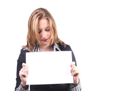 Attractive young woman with blank card Stock Photo - 9755734