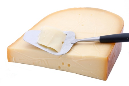 slicer: Dutch Gouda cheese with cheese slicer