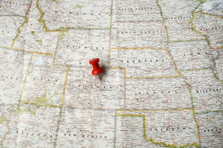 Red pin on map of USA pointing at Denver, Colorado
