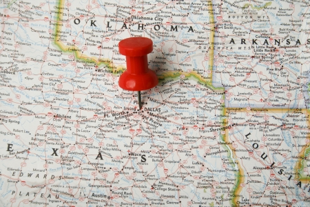 Red pin on map of USA pointing at Dallas, Texas Stock Photo - 9755770
