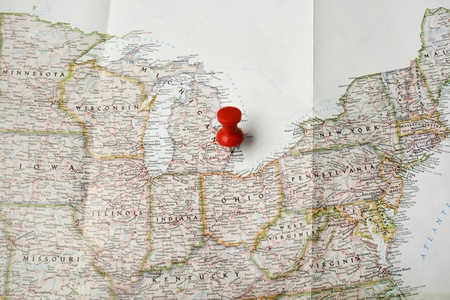 michigan: Red pin on map of USA pointing at Detroit Stock Photo