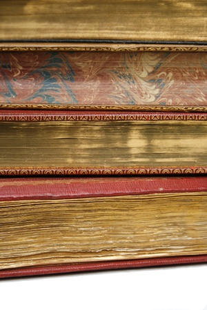 Precious vintage books with special golden coating on pages  photo