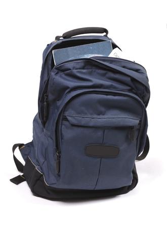 school backpack: Mochila llena de libros de estudio Foto de archivo